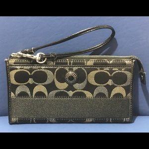 Coach bl/silver/gray-green fabric wallet/wristlet